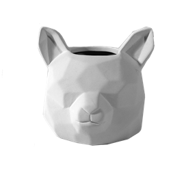 Faceted Fox Head Planter