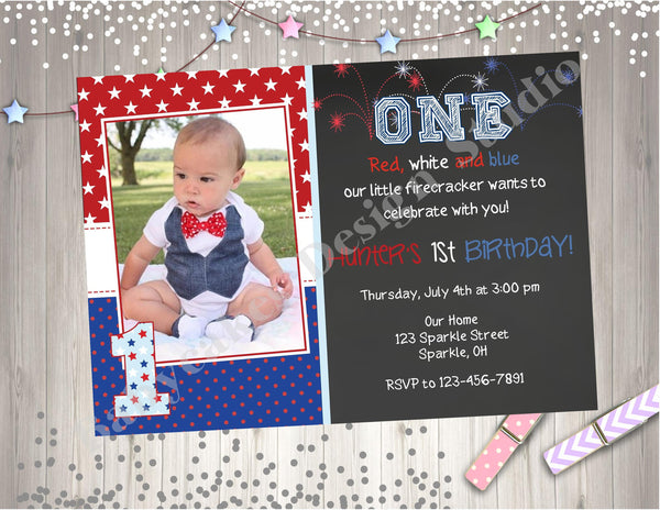 4th Of July Birthday Invitation With Photo