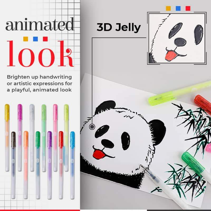(50% OFF) 3D Glossy Jelly Ink Pen (6Pcs /pack)