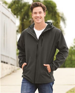 Hooded Poly-tech Soft Shell Jacket / Black & Graphite / Beach FC
