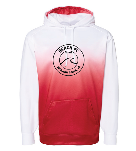 Ombre Hooded Sweatshirt / White & Red / Beach FC