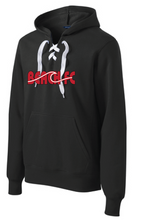 Load image into Gallery viewer, Lace Up Pullover Hooded Sweatshirt / Heather Red / Beach FC