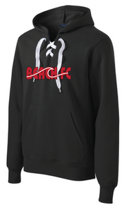 Lace Up Pullover Hooded Sweatshirt / Heather Red / Beach FC