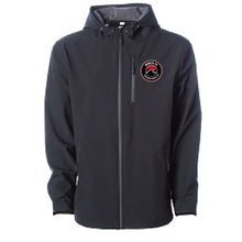 Load image into Gallery viewer, Hooded Poly-tech Soft Shell Jacket / Black & Graphite / Beach FC