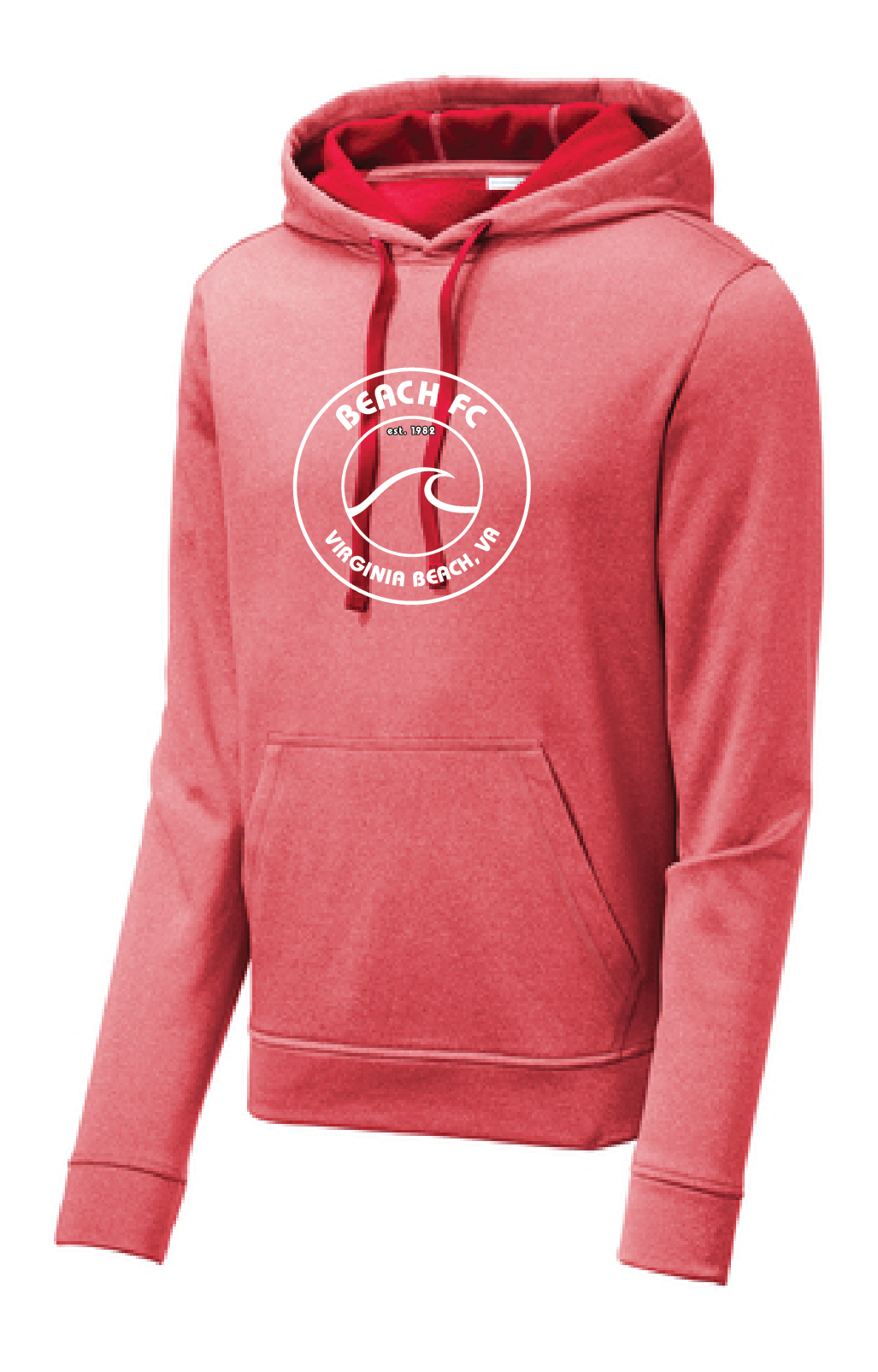Sport-Wick Performance Heather Fleece Hooded Pullover / Heather Red / Beach FC