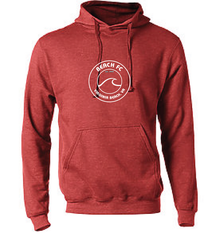 Fleece Pullover Hoodie (Youth & Adult) / Heather Red / Beach FC