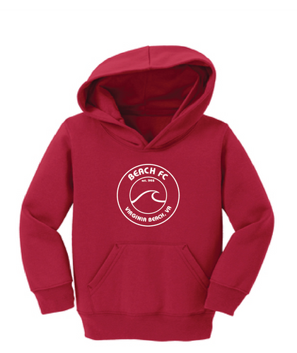 Toddler Core Fleece Pullover Hooded Sweatshirt / Red / Beach FC