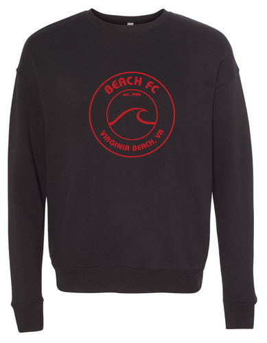 Sponge Fleece Drop Shoulder Crewneck Sweatshirt / Black / Beach FC