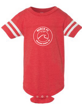 Load image into Gallery viewer, Infant Football Fine Jersey Bodysuit / Vintage Red & White / Beach FC