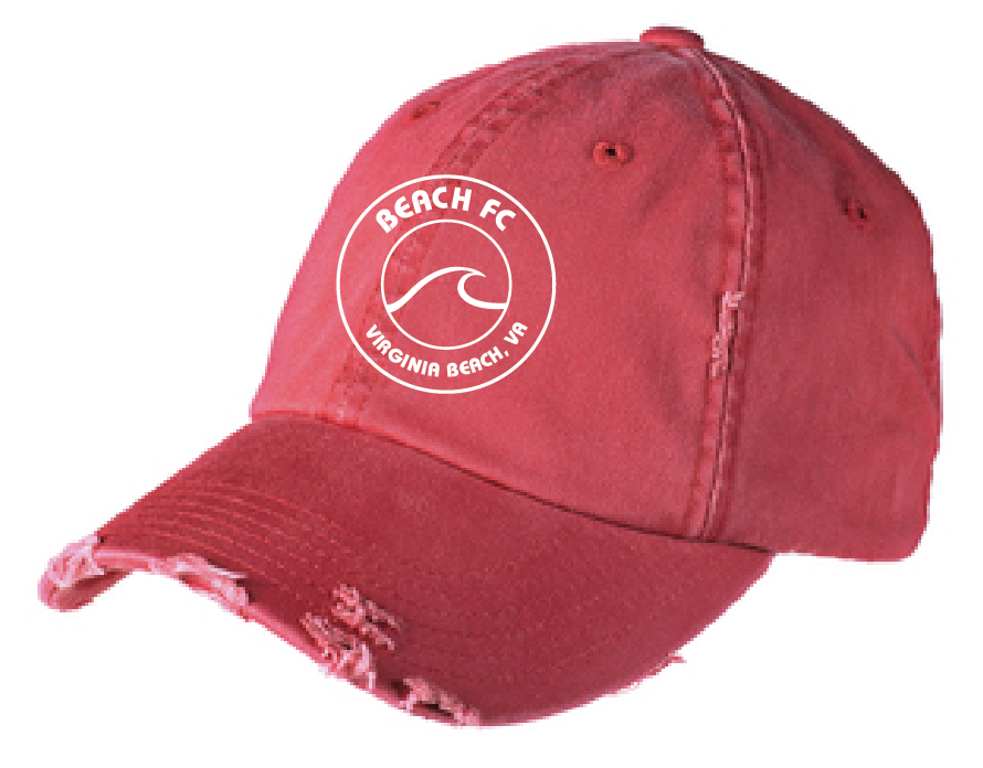 Distressed Cap-Circle / Heather Red  / Beach FC