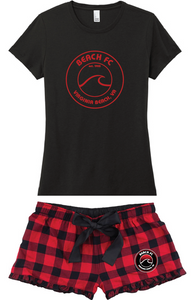 Shorts Flannel Pajamas / Red & Black Plaid / Beach FC