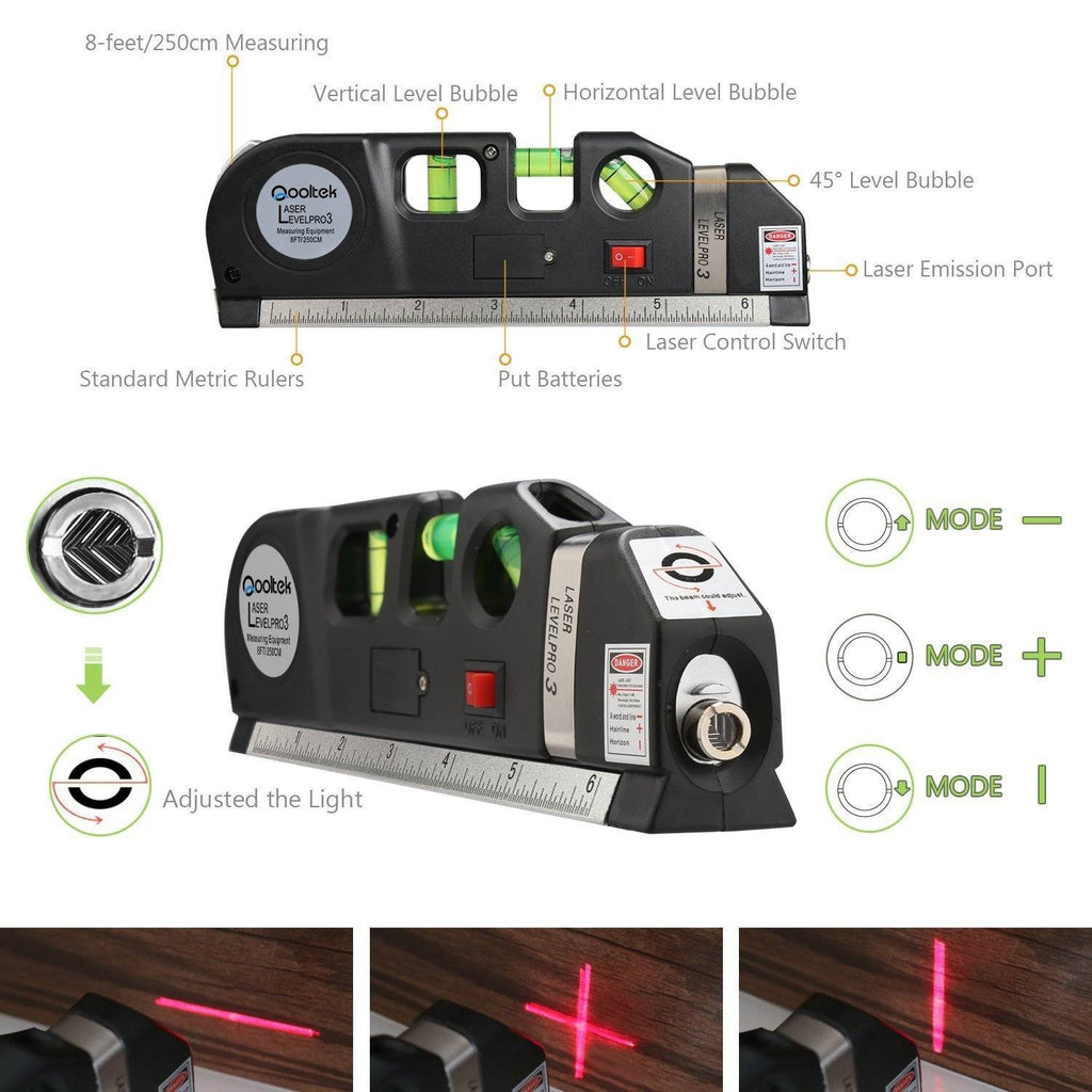 Multipurpose Laser Level Measuring Tape Standard and Metric Tape Ruler (8ft/2.5M)