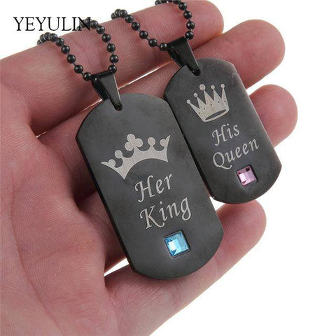 Couple Necklaces Her King & His Queen Stainless Steel Tag