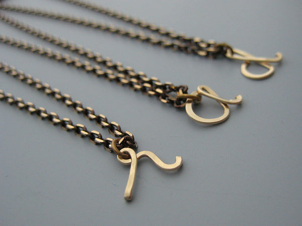 Gold Cursive Initial Necklace with Bronze Chain