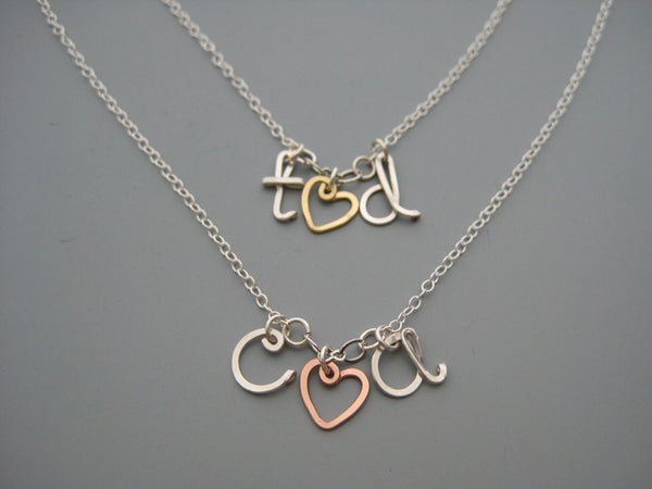 Heart and 2 Lowercase Initial Necklace