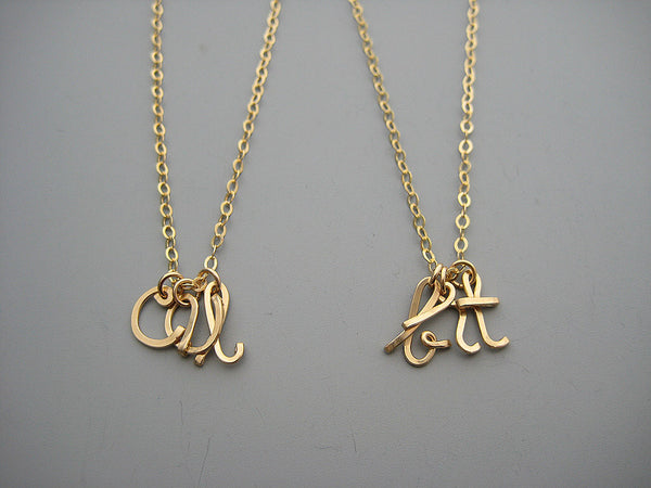 3 Lowercase Initial Necklace