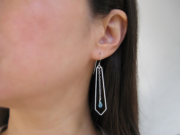 Arrow with Blue Drop Geometric Earrings