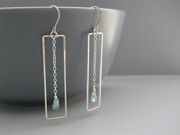 Rectangle with Blue Drop Geometric Earrings