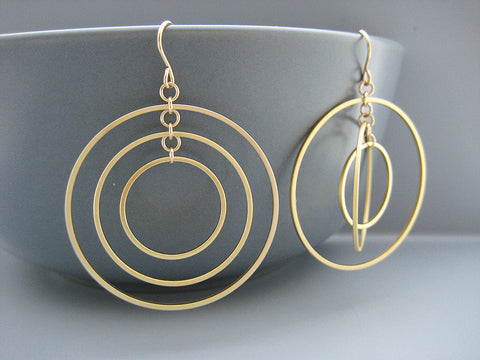 Concentric Circle Hoop Earrings