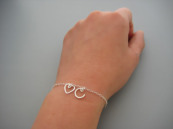 A Heart and One Initial Bracelet