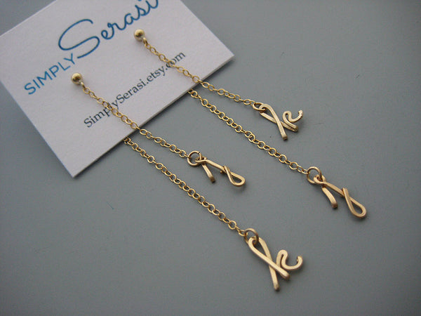Long Initial Ear Jacket Earrings
