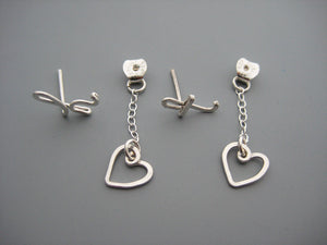 Short Heart Initial Ear Jacket Earrings