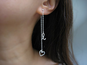 Long Heart Initial Ear Jacket Earrings
