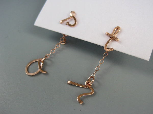 Short Initial Ear Jacket Earrings