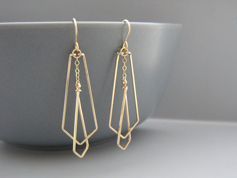 Small Interlocking Arrows Art Deco Earrings