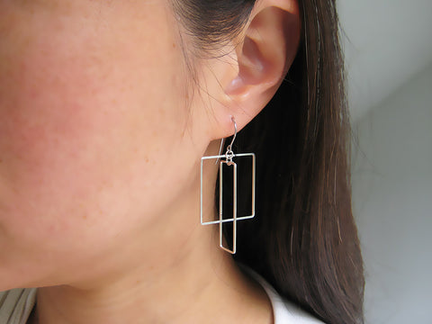 Interlocking Square and Rectangle Art Deco Earrings