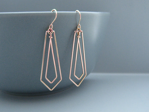 Linked Arrows Art Deco Earrings