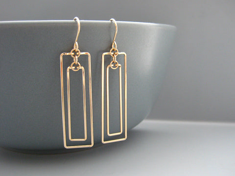 Linked Rectangle Art Deco Earrings
