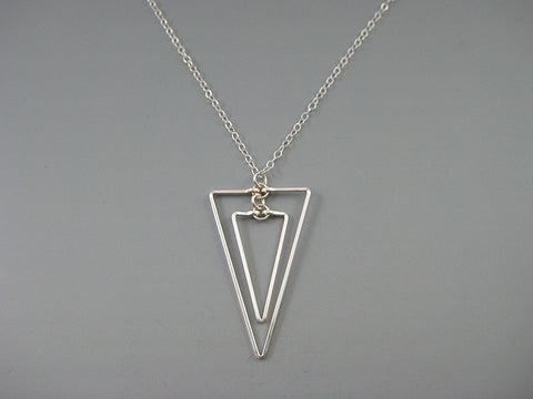 Linked Down Triangle Art Deco Necklace