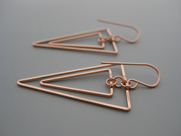 Linked Down Triangle Art Deco Earrings
