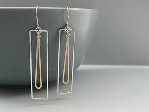 Rectangle with Long Drop Geometric Earrings
