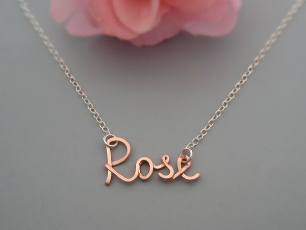 Mixed Metal Name Necklace