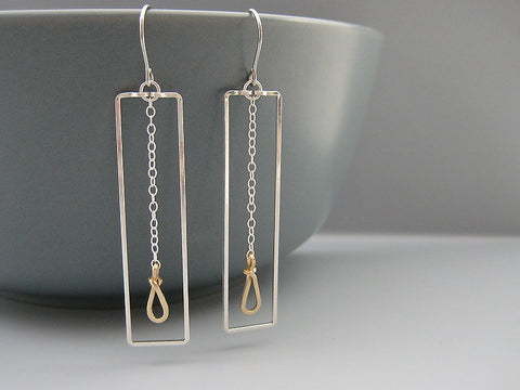 Rectangle with Small Drop Geometric Earrings