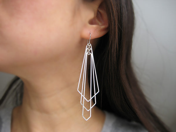 Large Tiered Arrow Art Deco Earrings