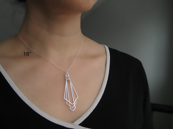 Tiered Arrow Art Deco Necklace