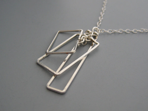 Small Tiered Rectangle Art Deco Necklace
