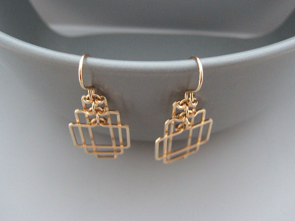 Small Tiered Rectangle Art Deco Earrings
