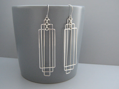 Tiered Rectangles Art Deco Earrings