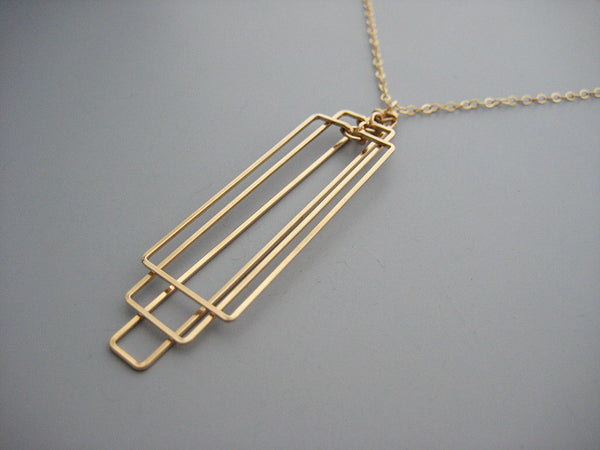 Tiered Rectangle Art Deco Necklace