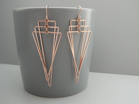 Tiered Triangle Art Deco Earrings