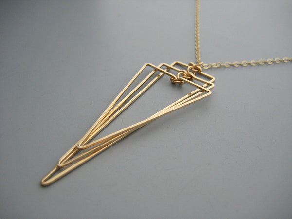 Large Tiered Triangle Art Deco Necklace