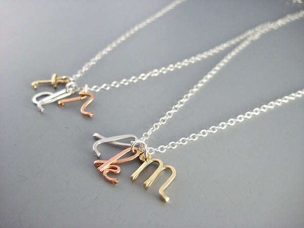 3 Mixed Metal Initial Necklace (Silver, Gold, and Rose Gold)