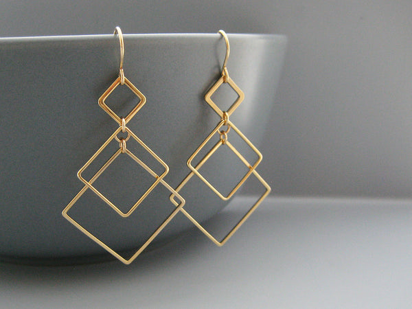 Triple Square Art Deco Earrings