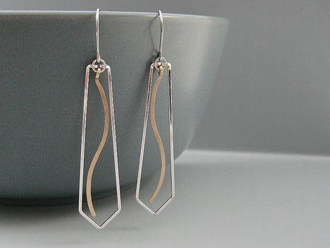 Triangle  with Wave Geometric Earrings