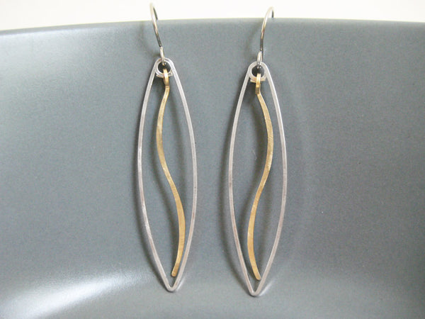 Leaf with Wave Geometric Earrings
