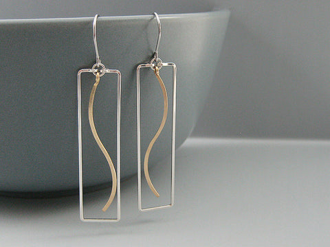 Rectangle with Wave Geometric Earrings